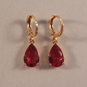 18K Gold Filled Red Crystal Pear Shape Earrings